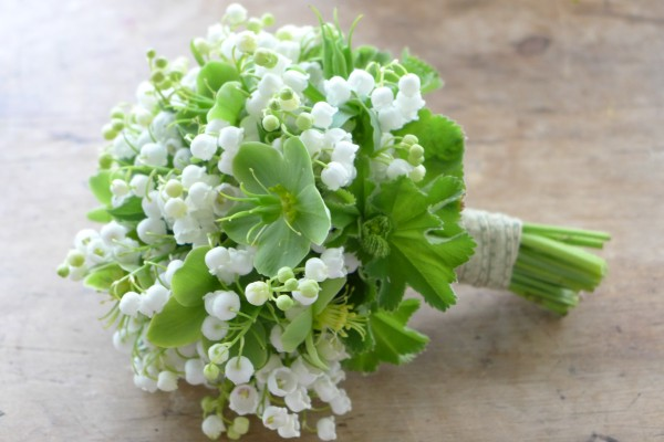 wedding bouquet of lily of the valley